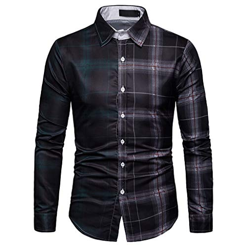 Rock Plaid Shirt - Sunmoot Fashion Patchwork Plaid Shirts for Men Long Sleeve Button Down Classic Top Blouse with Pocket