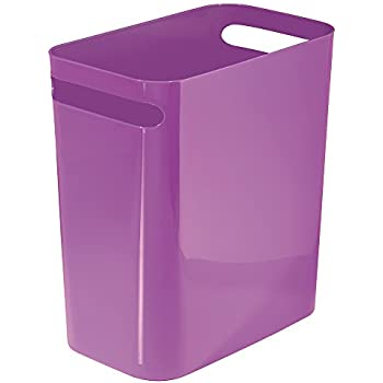 Interdesign mono wastebasket trash can for for Purple bathroom bin