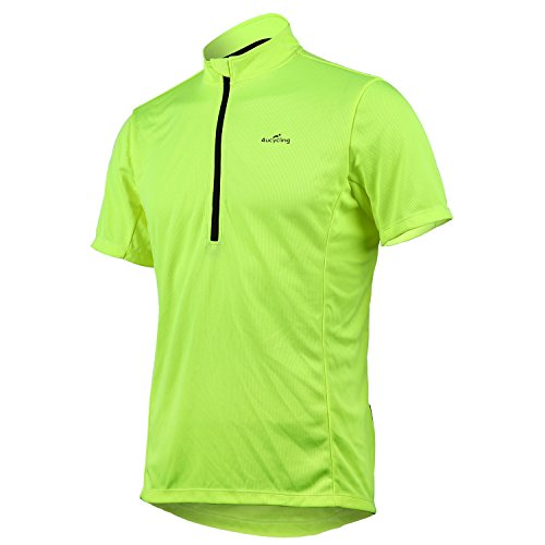 Short Sleeve Cycling Jersey Men's Quick Dry Basic Shirts GREEN L (Cycling Jersey T-shirt)