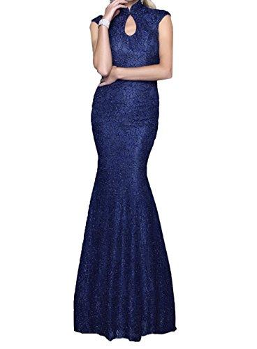 mia Schmaler Abschlussballkleider Vintag Spitze Abendkleider Lang Meerjungfrau Promkleider Blau Schnitt Navy La Braut Hwqd8WSS
