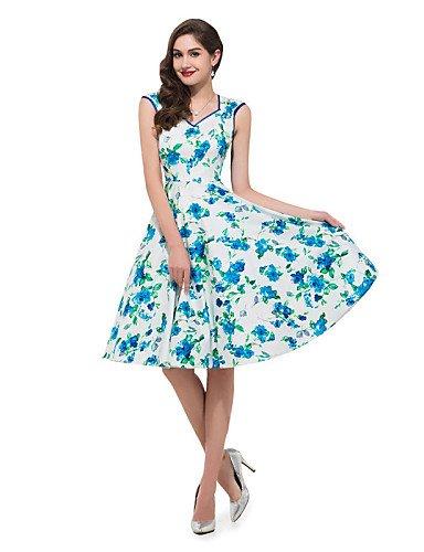 PU&PU Robe Aux femmes Gaine Vintage,Fleur Col en V Mi-long Coton , white-xl , white-xl
