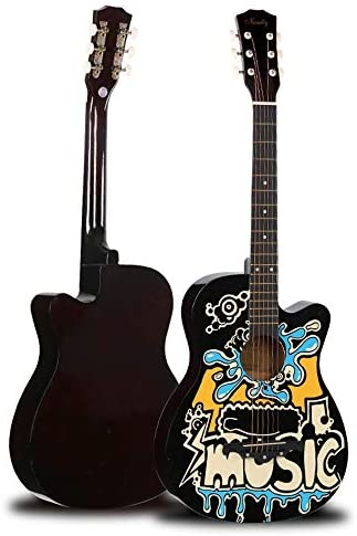 アコースティックギター ギターフォークキャラクターグラフィティ初心者が練習ギター入門します 初心者セット (色 : Blue, Size : 38 inches)
