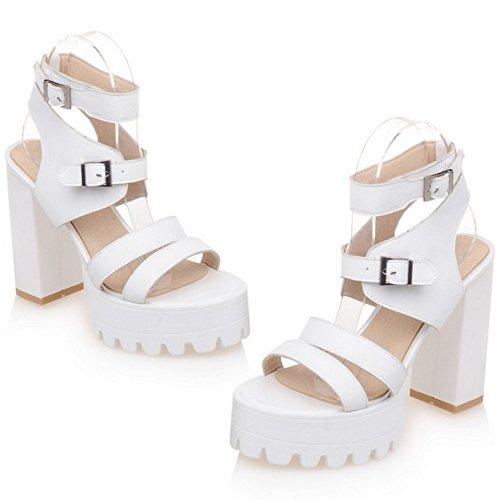 TAOFFEN Mujer Moda Hueco Plataforma Sandalias Tacon Ancho Tacon Alto Punta Abierta Zapatos De Hebilla Blanco