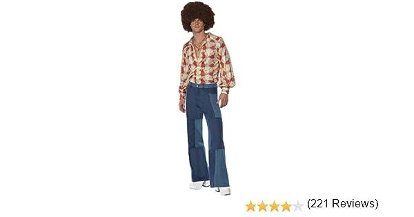 Smiffys Disfraz Retro de los 70, Camisa y Pantalones Patchwork de ...
