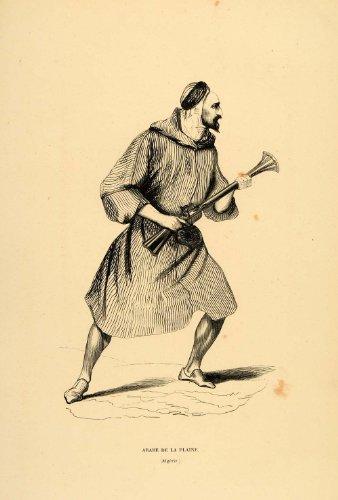 1844 Engraving Costume Arab Man Gun Algeria Algerian - Original (Algerian Costume For Men)