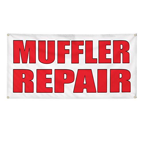 - Vinyl Banner Sign Muffler Repair Auto Body Shop Car Repair Style U Marketing Advertising - 16inx40in (Multiple Sizes Available), 4 Grommets, Set of 3