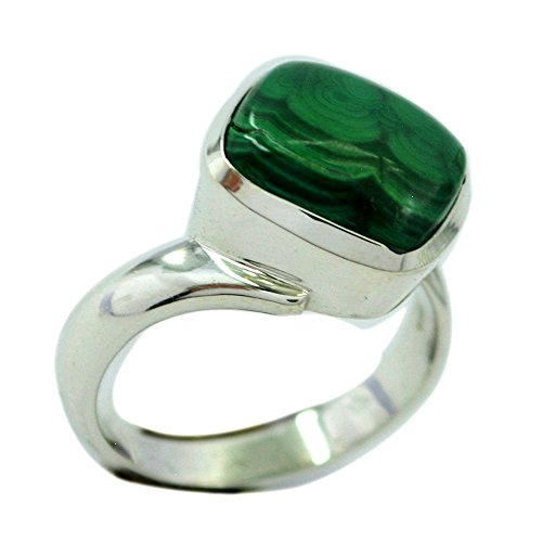 Jewelryonclick Genuine Malachite 925 Silver Statement Rings For Women Gift In Size 4,5,6,7,8,9,10,11,12 ()