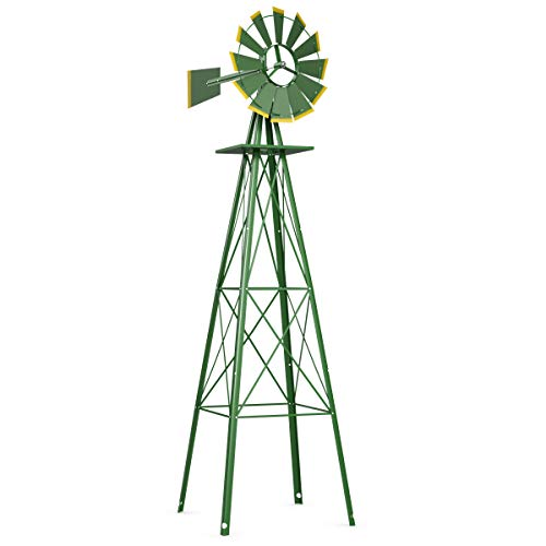 (Tangkula 8FT Windmill Yard Garden Metal Ornamental Wind Mill Weather Vane Weather Resistant (Green))