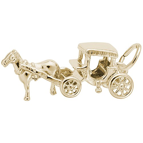 Horse And Carriage Charm In 14k Yellow Gold, Charms for Bracelets and Necklaces
