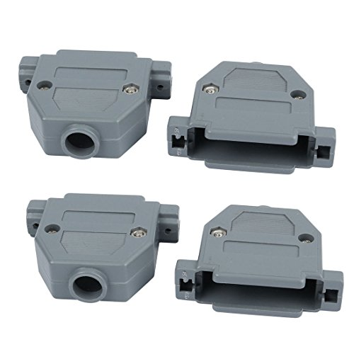 (uxcell 4pcs DB25 Male/Female Port D-Sub Connector Kit Cover Housing Assembly Shell Plastic Hood Gray)