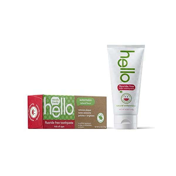 hello kids fluoride free and sls free toothpaste, natural watermelon 4.2oz by Hello Oral Care 4