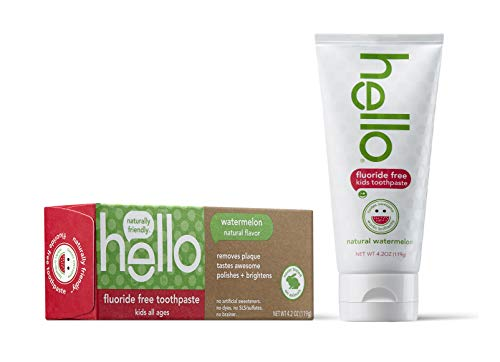 41AwHq51nML - Hello Oral Care Kids Fluoride Free And SLS Free Toothpaste, Natural Watermelon, 4.2 Ounce