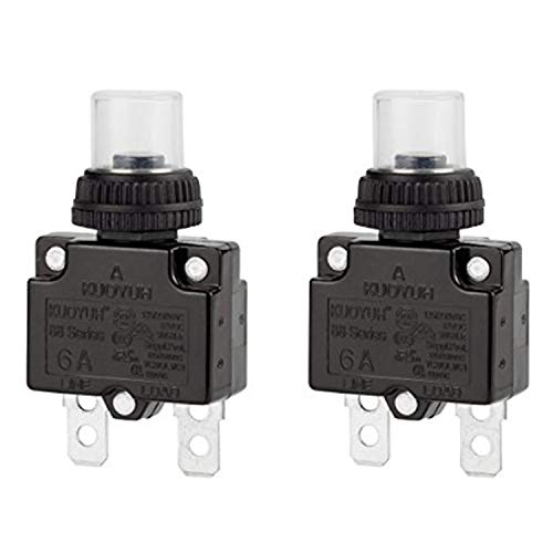 6a Circuit Breakers - Circuit Breaker,DIYhz Thermal Overload Circuit Breaker 88 Series 6A 32V DC 125/250VAC 50/60Hz Push Button Circuit Breaker Reset Boot Switch and Waterproof Button Transparent Cap 2 Pcs