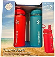 ThermoFlask Stainless Steel 16 OZ Water Bottle 2-Pack