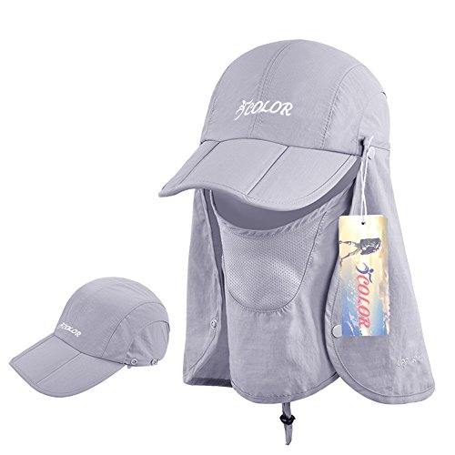 ICOLOR Sun Caps Flap Hats 360° Solar Protection Folding UPF 50+ Sun Cap Removable Neck&Face Flap Cover Caps for Baseball,Backpacking,Cycling,Hiking,Fishing,Garden,Hunting Outdoor (Solar Sun Hat)