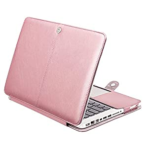 Mosiso PU Leather Only Case for Old MacBook Pro 13 Inch with CD-ROM A1278, Premium Quality Book Cover Folio Sleeve with Stand Function, Rose Gold