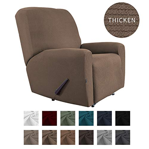 Easy-Going Thickened Recliner Stretch Slipcover, Sofa Cover, Furniture Protector with Elastic Bottom, 4 Pieces Couch Shield, Sturdy Fabric Slipcover, for Pets,Kids,Children,Dog (Recliner,Camel)