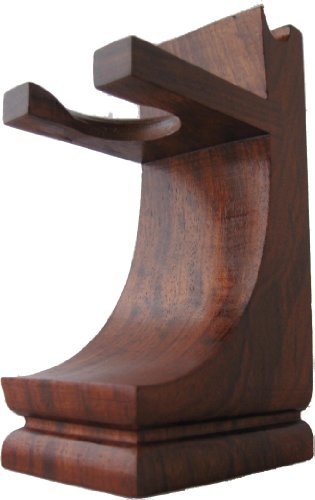 Mission Style Wood Shave Stand for Razor and Brush - Walnut Finish Parker Safety Razor