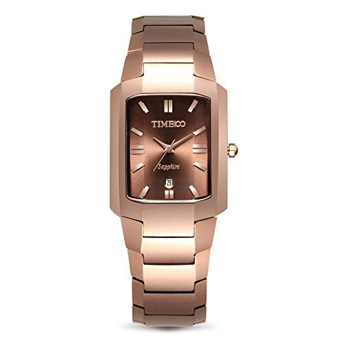 Time100 Men Fashion Casual Pattern Tungsten Steel Case Couple Digital-Quartz Movement Watch #W50109G (Brown)