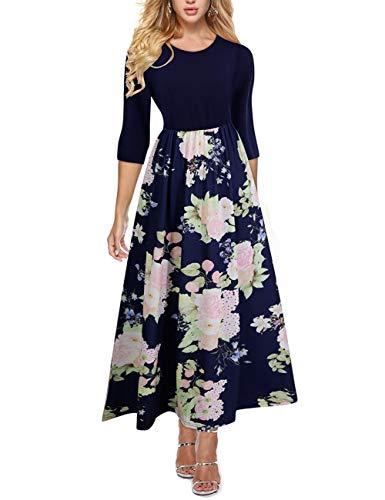 YUMDI Women's 3/4 Sleeve Floral Tie Waist Dress Maxi Long Dresses Pockets Belt Dark Blue ()