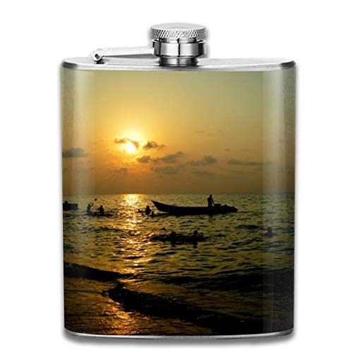 Flasks Sea In Sunset.JPG Man Woman Hip Flask Portable 304 Stainless Steel Camping Flagon Leak-Proof Alcohol Whiskey Liquor Wine Pot Travel Bottle Great Little Gift 7OZ