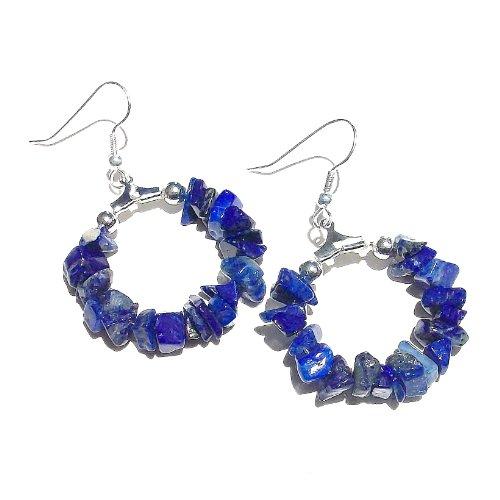 Blue Lapis Lazuli Gemstone Chip Hoop Earrings 25mm ()