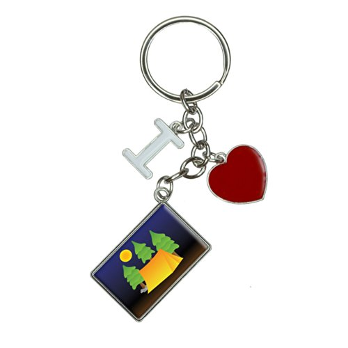 Tent Camping Nature Tree I Heart Love Keychain Key Ring for these Fun Camping Wrapping Paper And Creative Gift Wrap Ideas