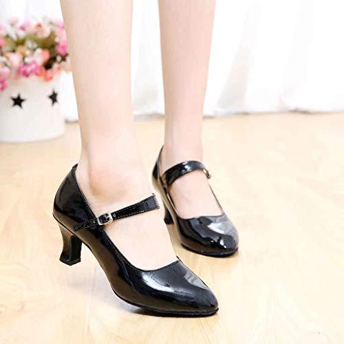 Femme Noir Lacets Talons Manadlian 5cm Dansante Chaussures Escarpins De Soirée zwOT7dq