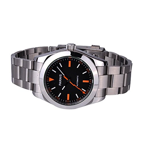 Whatswatch 40mm Parnis Sapphire Glass Black Dial Milgauss Style Automatic Mens Watch PA-0051 ()