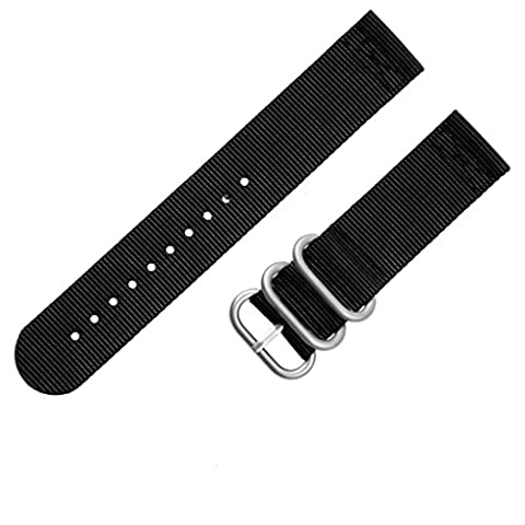 Adebena 22mm 2 Piece PVD Heavy Nato Nylon Watch bands Replacement Watch Strap,3 rings (Pebble Band Ring)