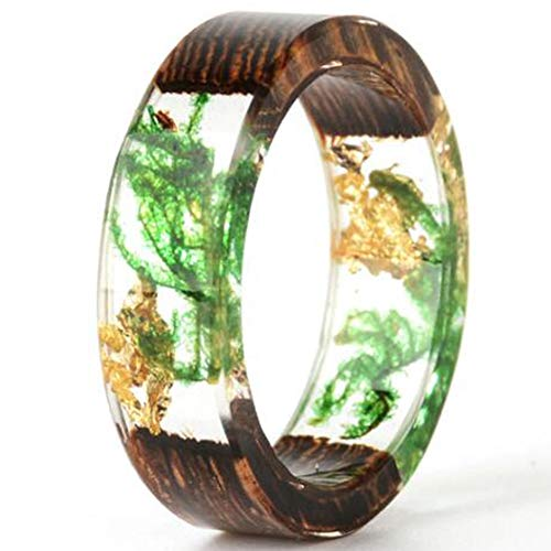 Jude Jewelers 8mm Transparent Acrylic Resin Wood Ocean Style Wedding Band Anniversary Ring (Green, 10) ()