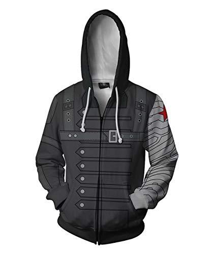 Winter Soldier Costumes Hoodie - Mens Winter Soldier Zip Up Jacket