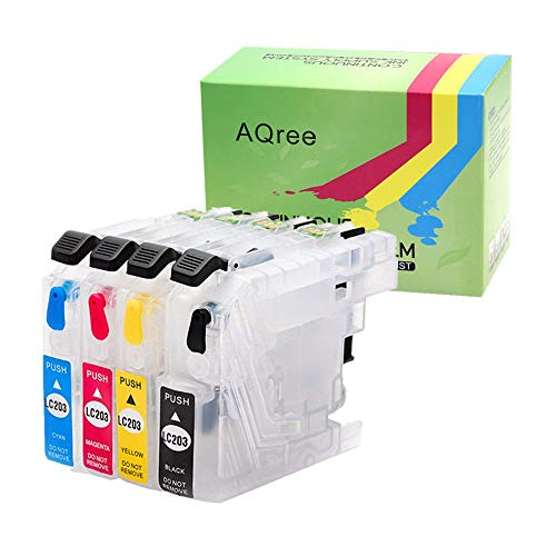 AQree Empty Refillable Ink Cartridge For Brother LC201 LC203 To Use With MFC-J460DW J480DW J485DW J680DW J880DW J885DW Printer With Arc Chip (1x Black, 1x Cyan, 1x Magenta, 1x Yellow)  4 Pack