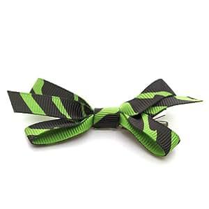 Reflectionz Girls Accessory Green Grosgrain Zebra Hair Clippie Bow