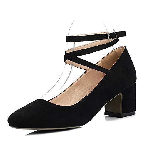 Mujer Boca Con BajoNegro35Amazon De Tacón Zapatos Cuadrada Yyb67fg