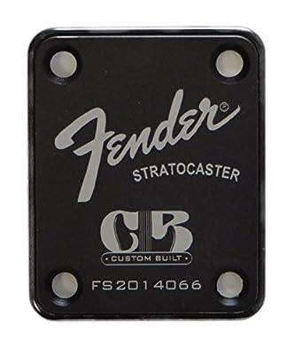 Fender Stratocaster Neck Plate with Custom Built logo - Black from LazrArt