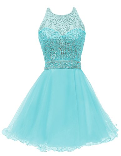 11a1de6d513 Short Tulle Homecoming Dresses Lace Appliques Beaded Puffy Prom Gowns