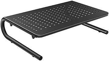 HUANUO Support moniteur avec plate-forme métallique ventilée pour moniteur, ordinateur portable, imprimante jusqu'à 20KG