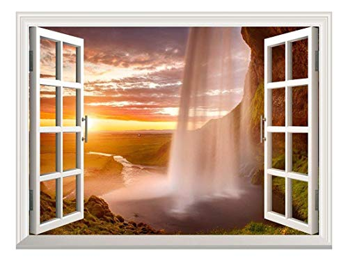 """Removable Wall Sticker/Wall Mural - Majestic Waterfall at Sunset 