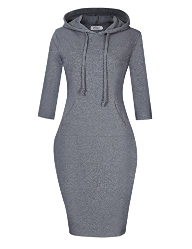 MISSKY Women Pullover Stripe Pocket 3/4 Long Sleeve Slim Hoodie Sweatshirt Dress Grey S