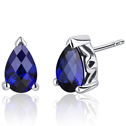 (Created Blue Sapphire Pear Shape Stud Earrings Sterling Silver 2.00)