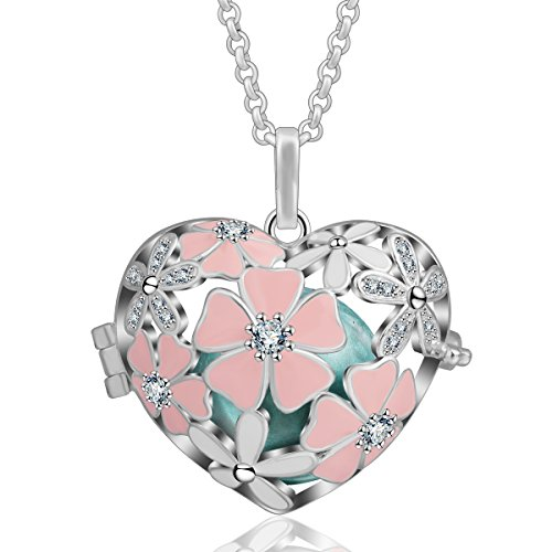 Harmony Cherry - AEONSLOVE Pink Cherry Blossom, Cubic Zircon Rhinestone Harmony Ball 18mm Pendant Chime Bell Necklace & 30'' Chain for Women (Seagreen)