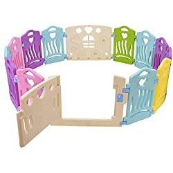 IHGTZS Baby Playpen, 14 Panel Kids Play Fence Children Activity Center Security Game Bed Home Indoor Outdoor, Safe Play Yard Play Pen with Games & Gates for Infants (Multicolour)
