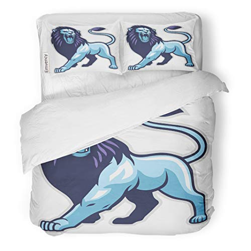 Semtomn Decor Duvet Cover Set King Size Brown Mascot Lion Stance Head Big Cat Cartoon Beast 3 Piece Brushed Microfiber Fabric Print Bedding Set -