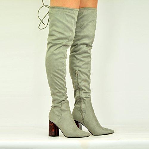 Cucu Fashion - Sandalias con cuña mujer gris ante