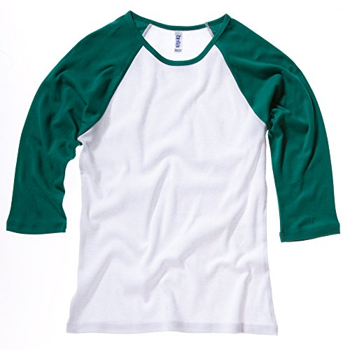 Bella Canvas- Camiseta de mangas 3/4 para chica/mujer White / Kelly