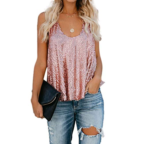 (Womens Sexy Sleeveless Vest, Letdown Sequin Reflective Loose Deep O Neck Tank Tops Blouse Vest)