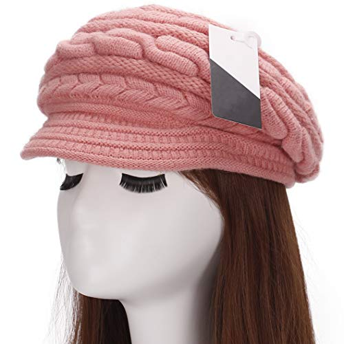 (Muryobao Winter Hat Crochet Knit Slouchy Beanie Cap Outdoor Warm Snow Ski Knitted Hats with Visor for Women Pink)