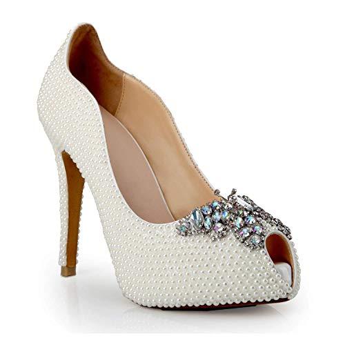 Diamant Blanc Chaussures Bouche De Luxe Sandales Hauts Poissons Mariage Boucle Hhgold Fashion Individuels Papillon Lady Personnalisées Mariée 12cm Perle Talons qZxRftvw