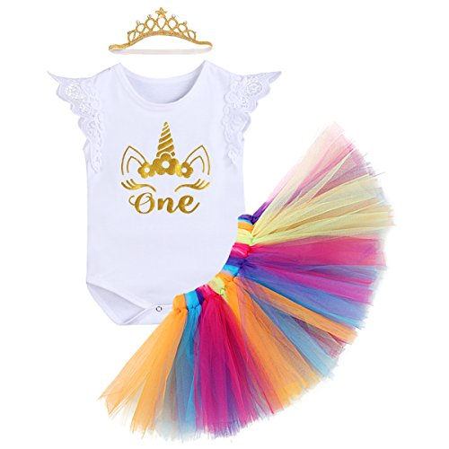 Little Girl 1st Birthday 3PCS Outfit Skirt Tutu Onesie Headband Romper Cake Smash Crown Princess Costume Christmas Dress #2 White Lace Sleeve 6-12 Months